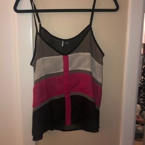 Sparkle and Fade Pink & Black Block Tank Top